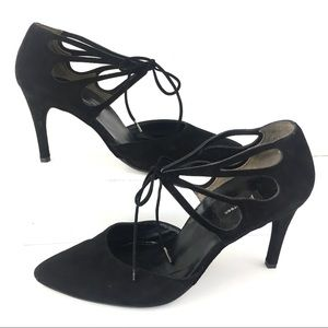 Paul Green black suede laces tie cut out heels 8.5